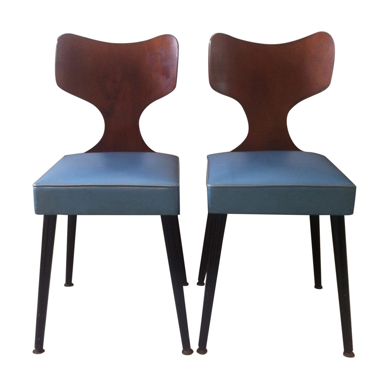 Pair Of Original Retro Vinyl Chairs