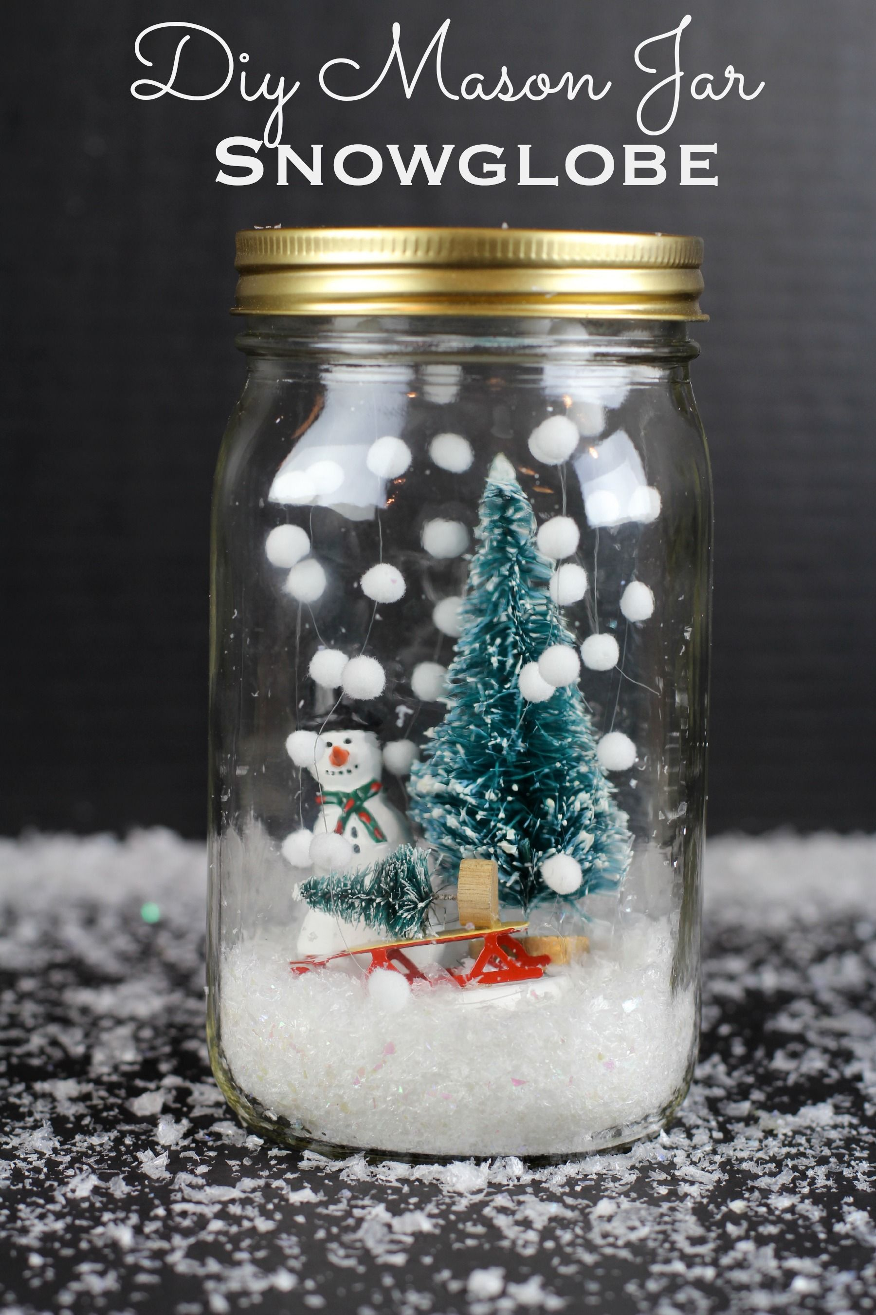 diy mason jar snowglobe use pearls on a string for size appropriate snowfall