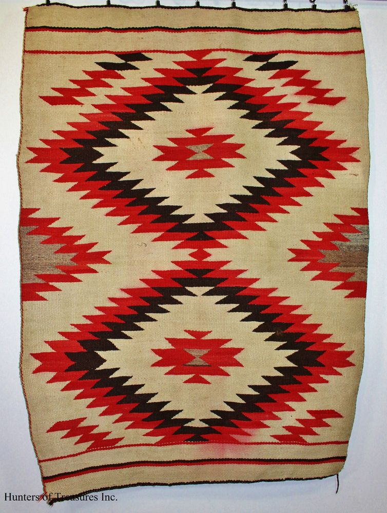 Old Antique Indian Rug Navajo Double