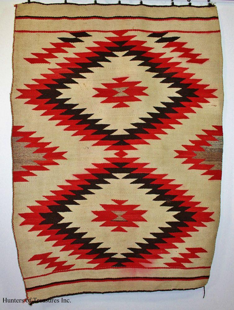 Old Antique Indian Rug Navajo Double Crystal Eye Dazzler Native American  Blanket