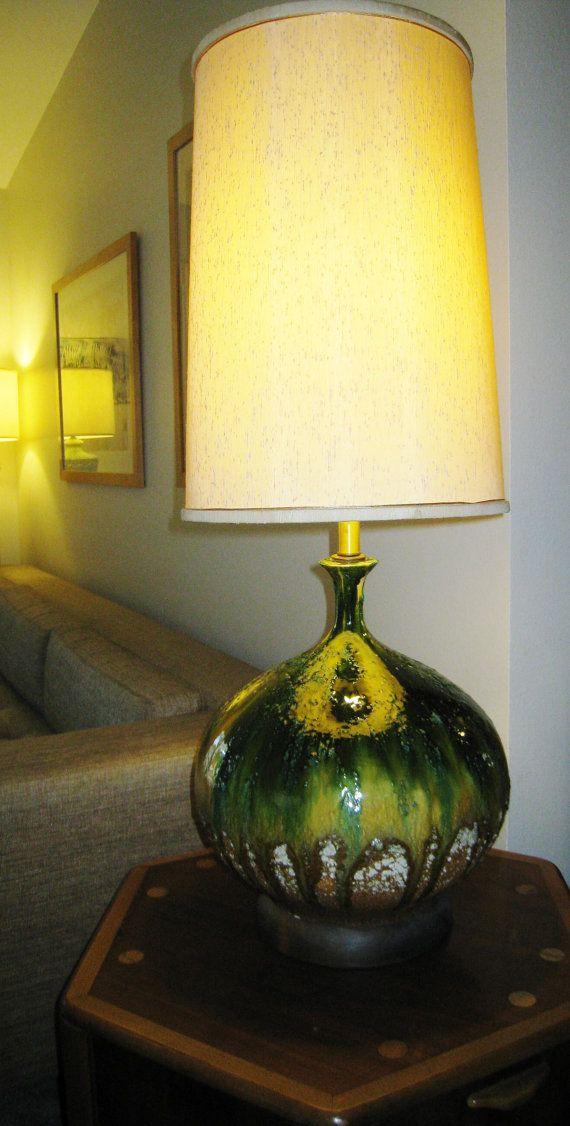Mid Century Modern Ceramic Drip Glaze Volcanic Molten Lava Green Lamp Mid Century Modern Ceramics Vintage Lamps Green Lamp