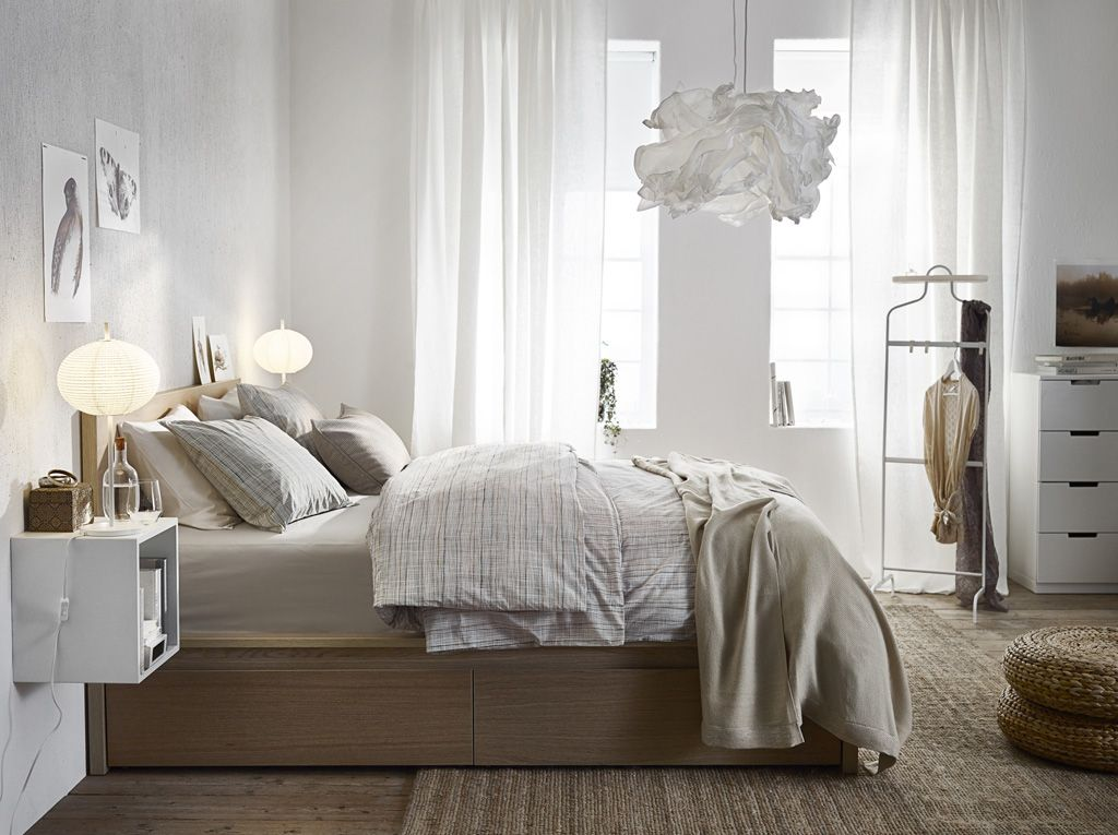 A Light Bedroom Furnished With A Bed In White Stained Oak Combined With White Remodel Bedroom Bedroom Design Ikea Bedroom