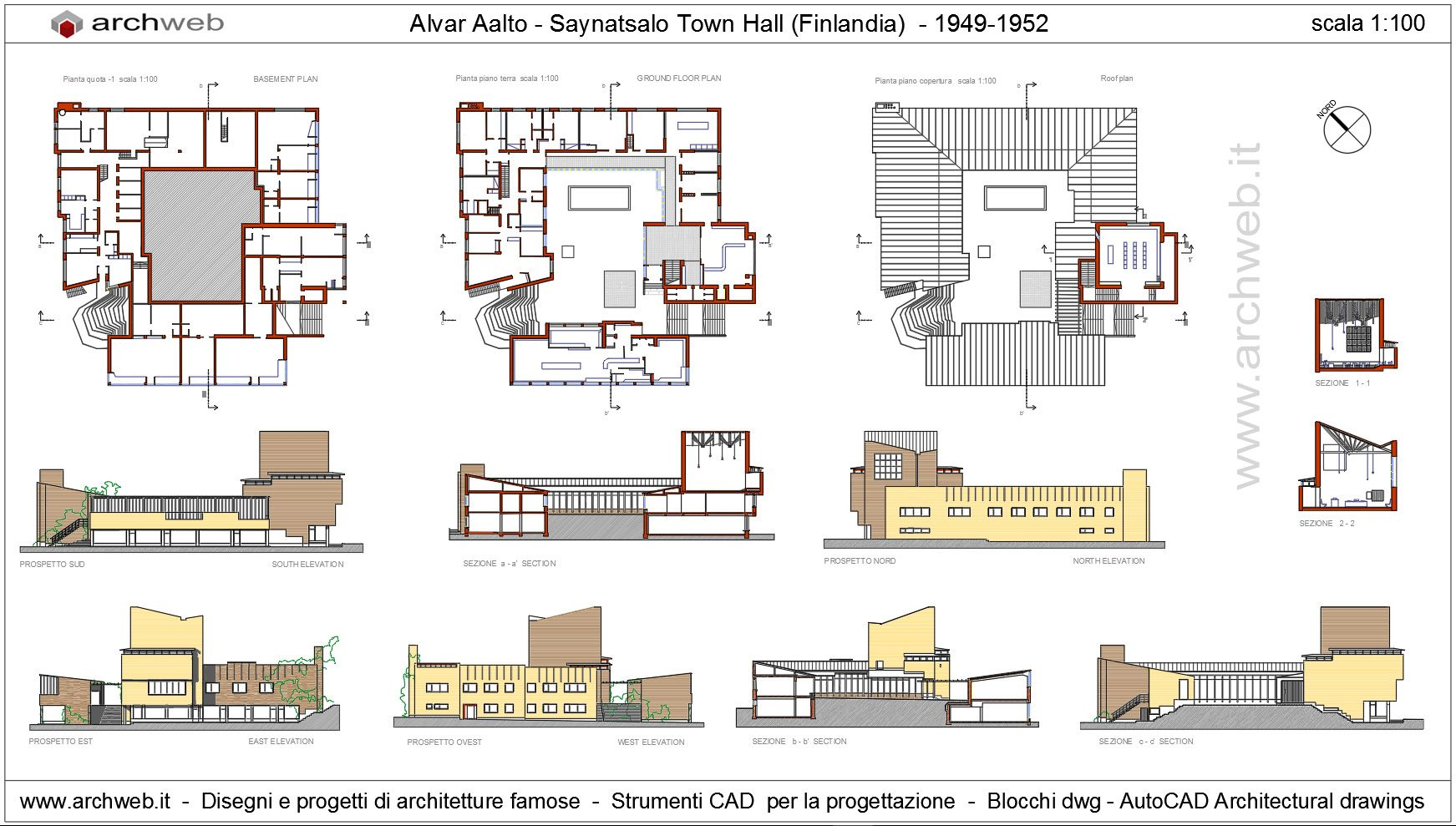 Saynatsalo town hall alvar aalto drawings with progetti dwg for Sala pranzo cad
