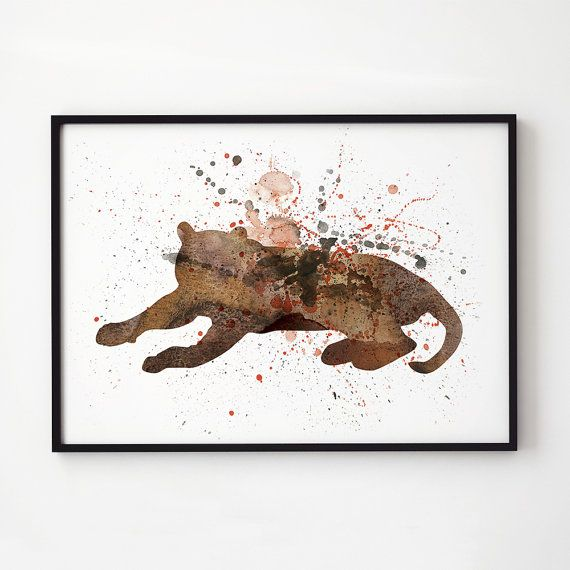 Splash print. Puma poster. Watercolor decor. Animal print.    Printed on high quality art paper.    SIZES:    8.3 x 11.7 (A4)  11.7 x 16.5 (A3)