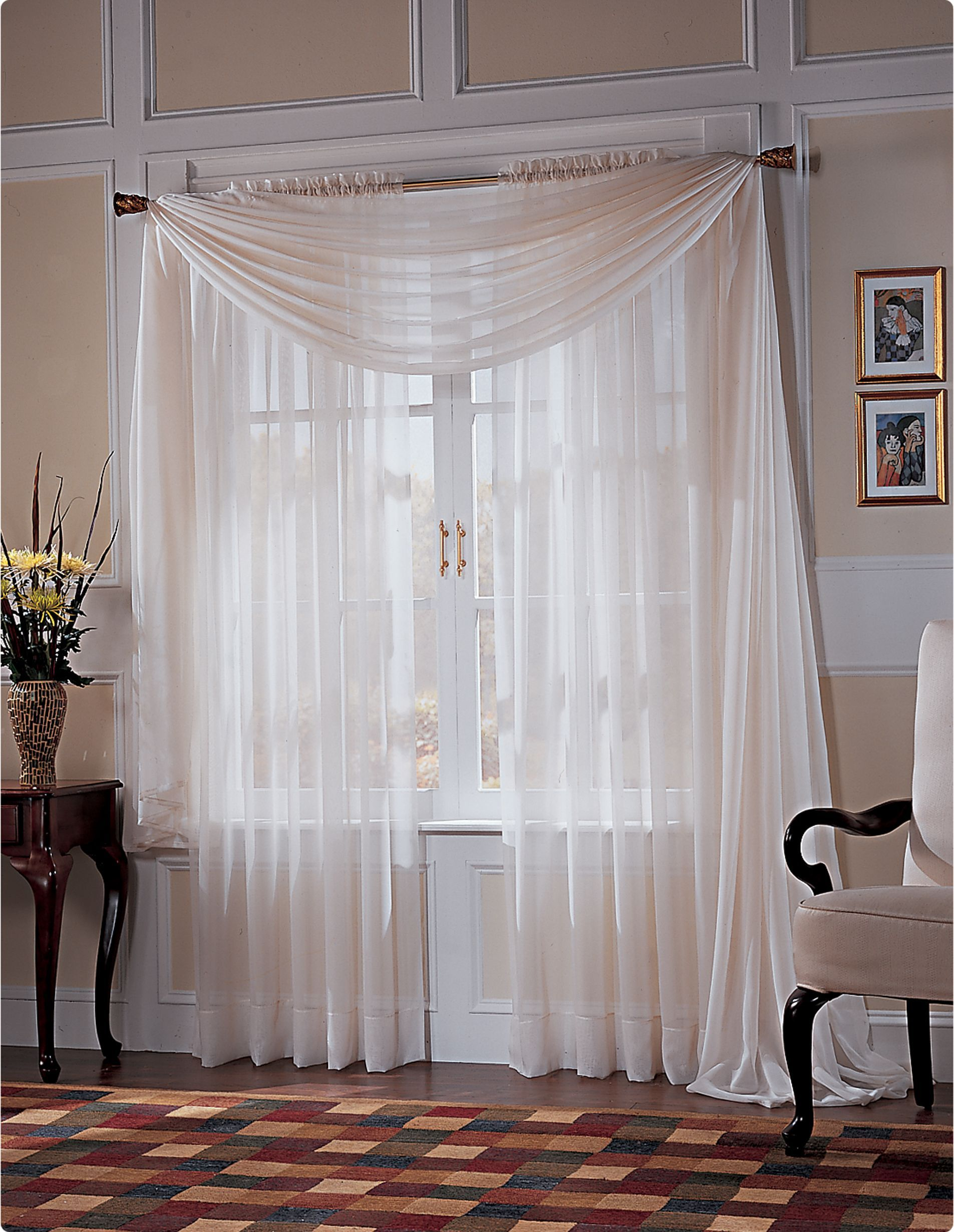 Whole Home Platinum Voile Window Treatments Collection Window Panels Sheer Window Panels Paneling #sears #living #room #curtains