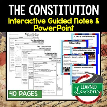 Constitution Guided Notes and PowerPoints American History