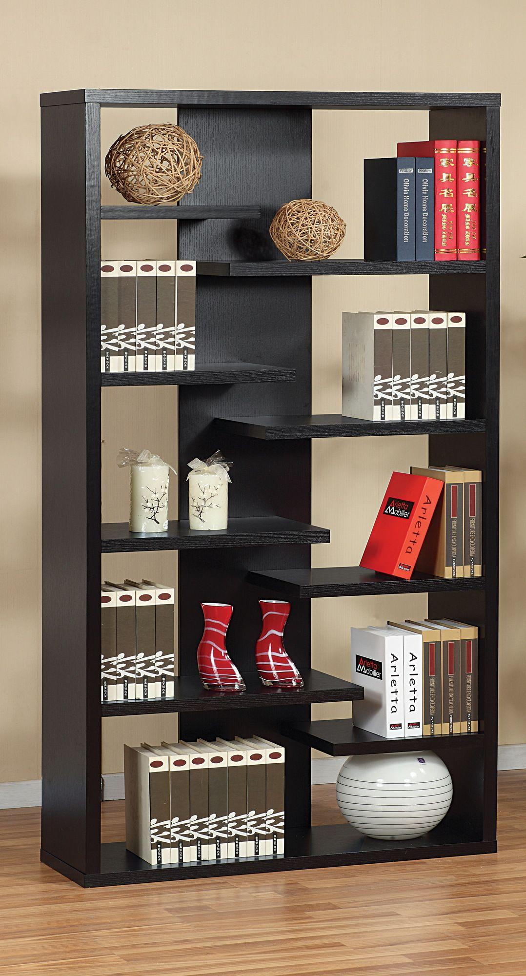 $193 Hokku Designs Payton Eight-Shelves Bookcase / Display Cabinet in Black