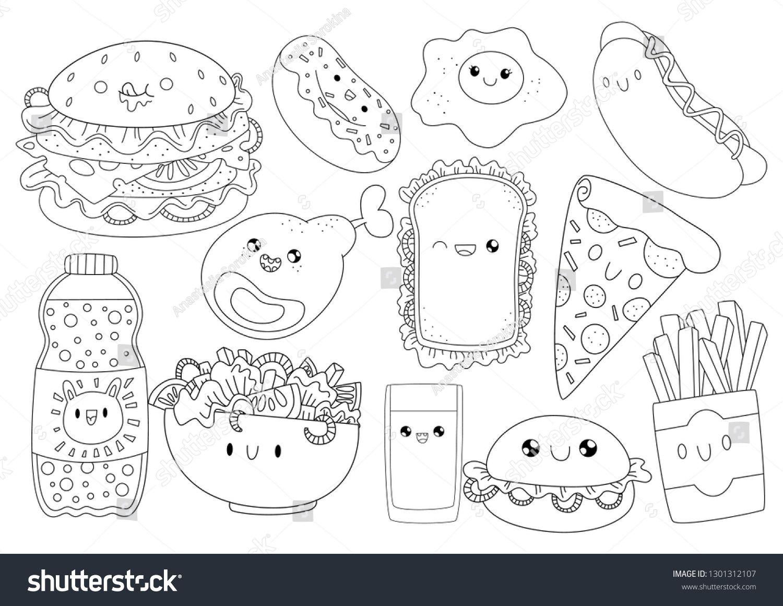 Fast Food Burger Hamburger Bigburger Chicken Pizza Donut Cute Cartoons In Kawaii Style Coloring Book Anti Stress Spo Coloring Books Kawaii Cute Cartoon
