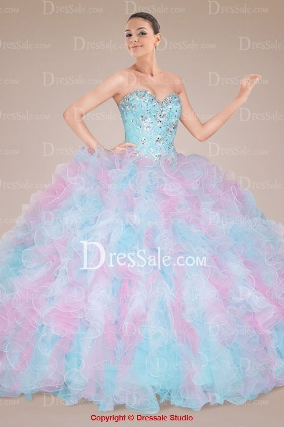5f497611030 Fabulous Sweetheart Quinceanera Gown with Beaded Bodice and Heavily Ruffled  Skirt.... Cotton candy colors