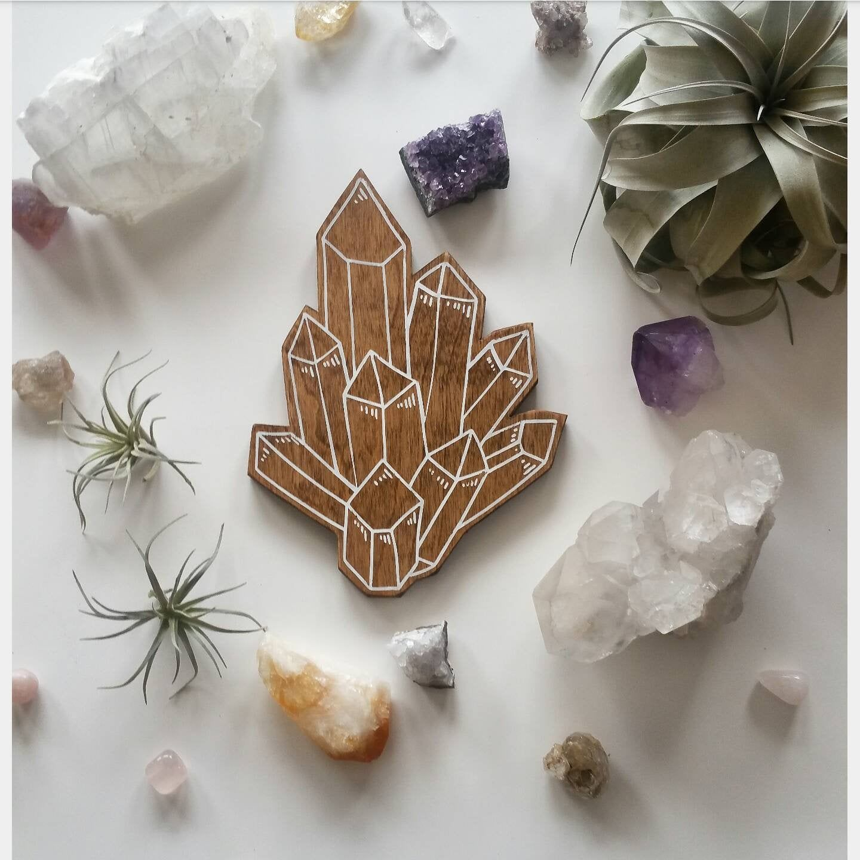 Wood Crystal Cluster Boho Bedroom Decor Healing Crystals Wall