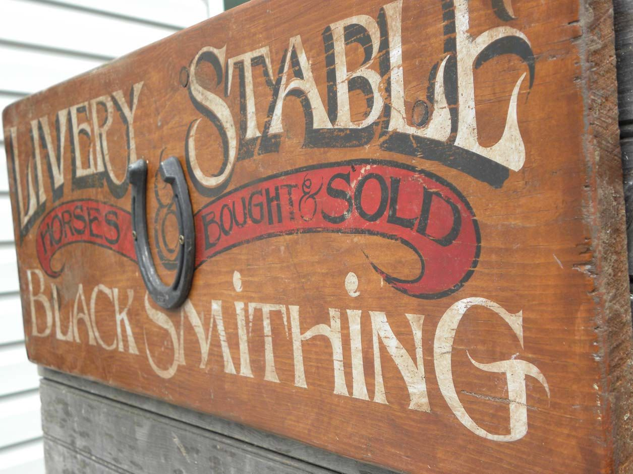 Horse Livery Stable Blacksmith Sign Faux By Zekesantiquesigns Vintage Wooden Signs Wooden Signs Diy Antique Signs