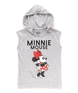 Light Gray Minnie Mouse Hooded Tank - Kids