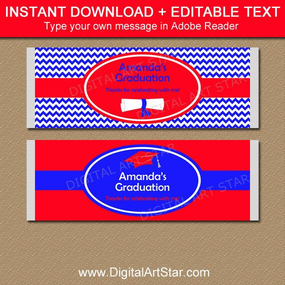 Graduation Candy Bar Wrapper Template in Red and Royal Blue - candy bar wrapper template