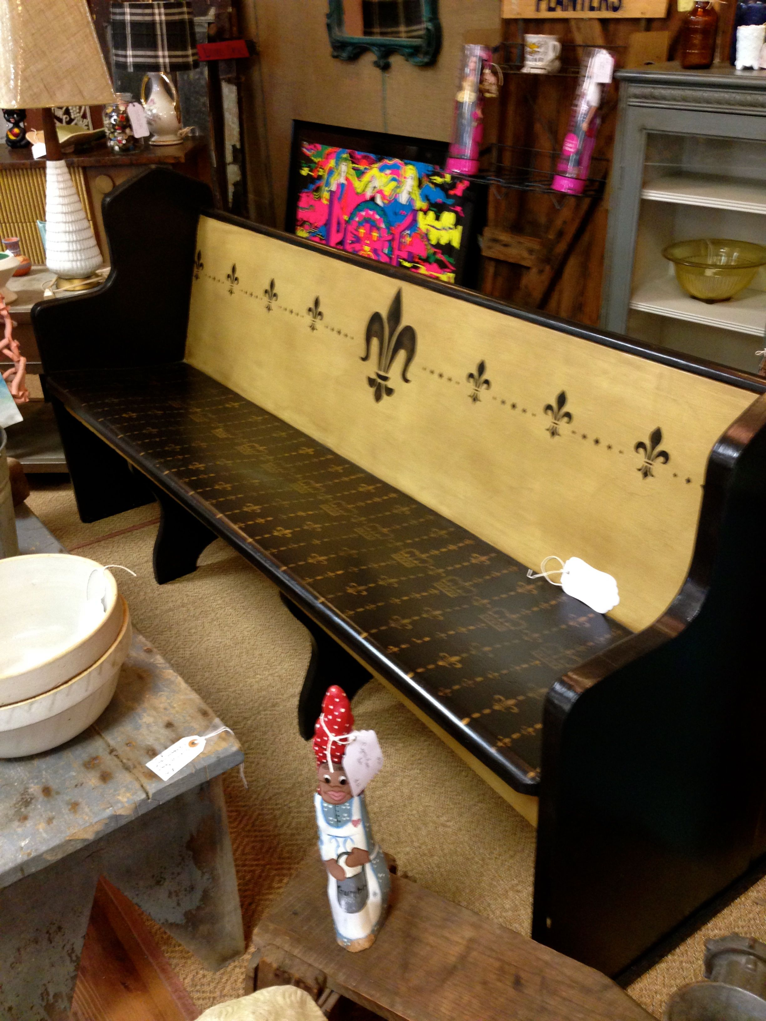 This Is A Vintage Church Pew That Was Painted With CeCe Caldwellu0027s Paints.  I Love The Nod To Our New Orleans Saints Football Team! See More Pics On  Facebook ...