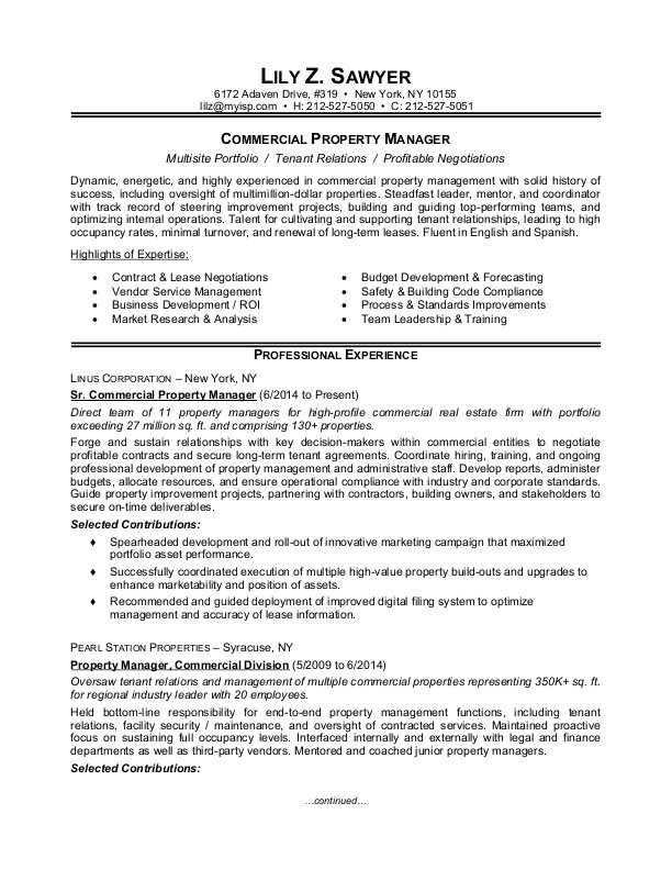 Sample Resume For A Commercial Property Manager Property Management Manager Resume Job Resume Examples