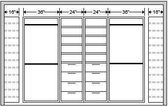 Standard Closet Dimension Color Closet System Components