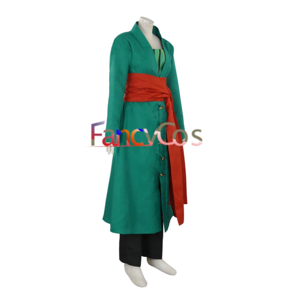 One Piece Roronoa Zoro Green Trench Coat Cosplay Costume Great Quality Halloween