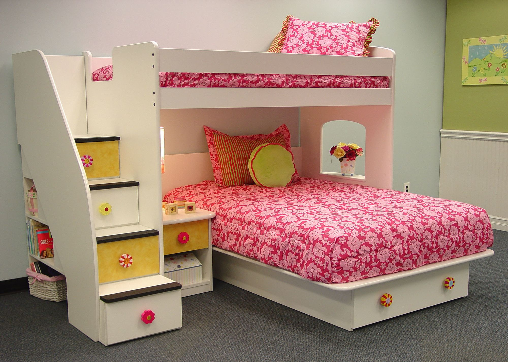 Berg Utica Loft Twin over Full Bunk Bed with Stairs and Storage