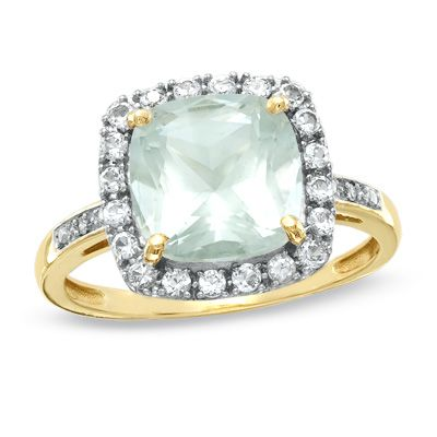 Zales Cushion-Cut Green Quartz Ring in Sterling Silver with Diamond Accents oeKHTD