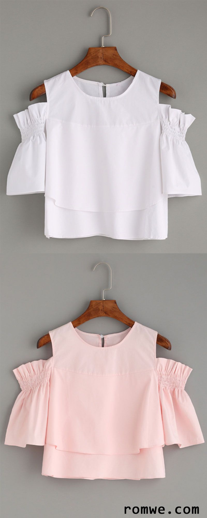 Cute Top - Ruffled Open Shoulder Blouse 2ed47e5668d