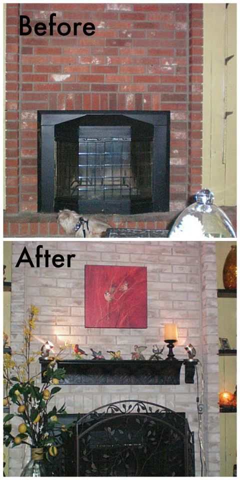 Brick fireplace painted townhome tour fireplace mantle - Red brick fireplace makeover ideas ...
