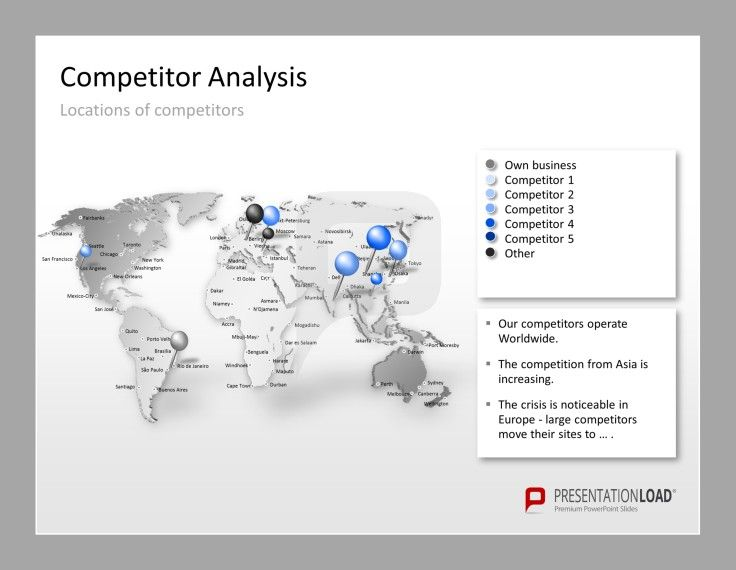 Competitor Analysis Powerpoint Templates Use A World Map To Show The