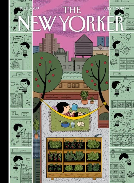 """July 1, 2013 - """"Box Garden"""" by Ivan Brunetti - The Ignatz Award-winning creator of Schizo has done several covers for the magazine, but it still came as a pleasant surprise to see his latest contribution, which adorns this week's issue. The cover celebrates the arrival of summer & comes a few weeks after the release of Brunetti's new book — """"Aesthetics: A Memoir,"""" an illustrated autobiography that traces his trajectory as an artist from childhood doodles to his professional work."""