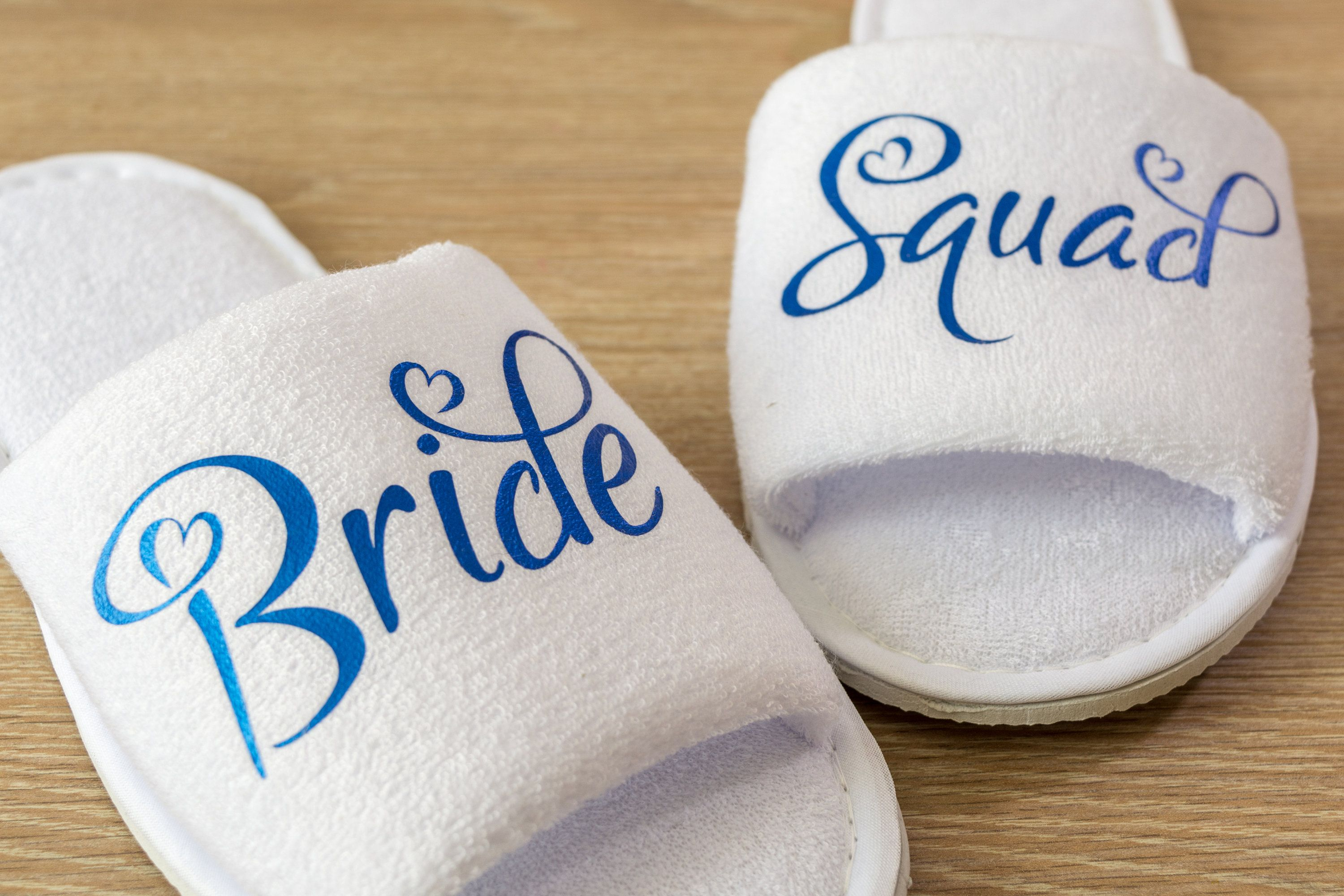 6804b15451a Personalised Bride Squad Wedding Slippers Bride