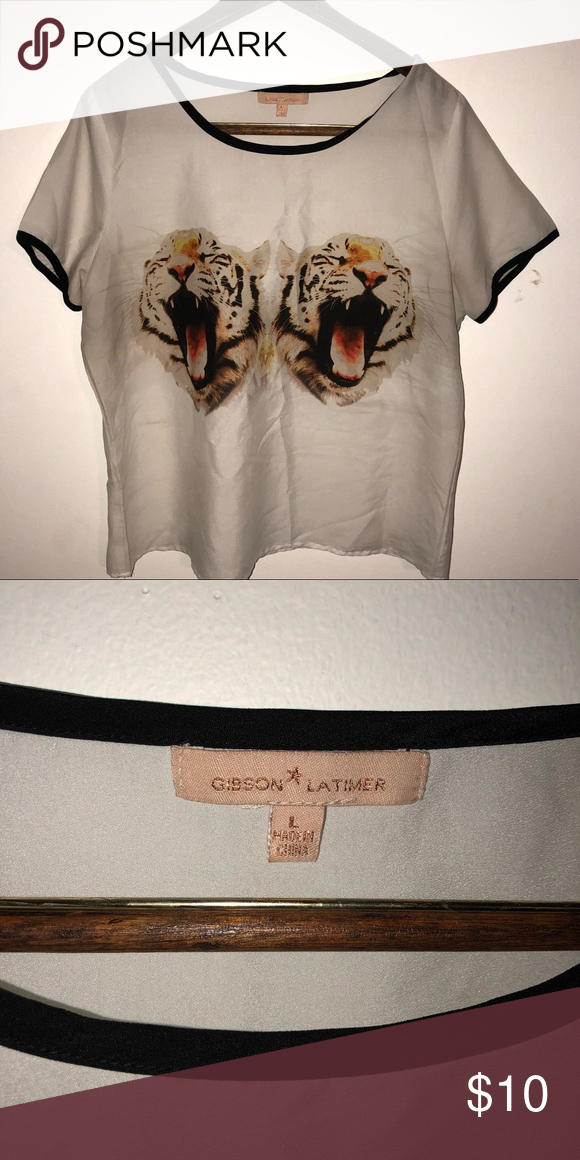f8a30666fa8 Women s L Gibson Latimer Tiger Shirt Fun Large Gibson Latimer Short Tiger Tee  Shirt grayish White with black trim. Gibson Latimer Tops Crop Tops