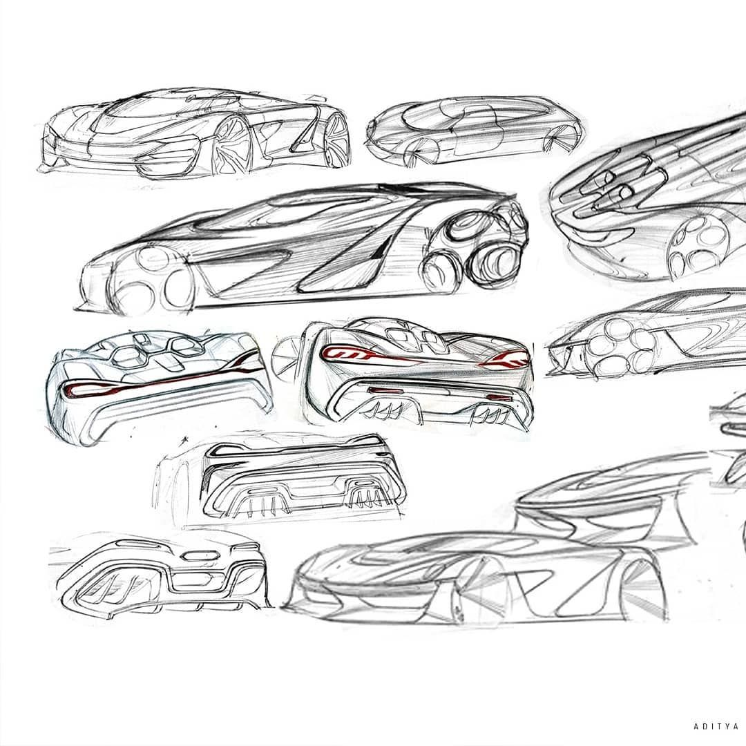 """Aditya on Instagram: """"Development sketches. Koenigsegg Ghost Marshal from #koenigseggsketchchallenge  Check out complete project on my Behance page. The link's…"""""""