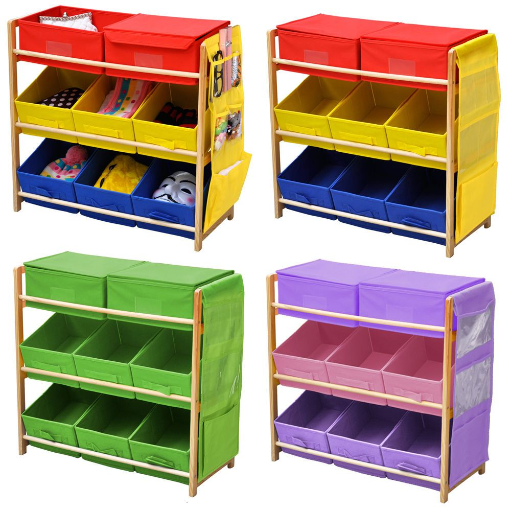 Childrens Kids 3 Tier Toy Bedroom Storage Shelf Unit 8 Canvas Bo Drawers Uk
