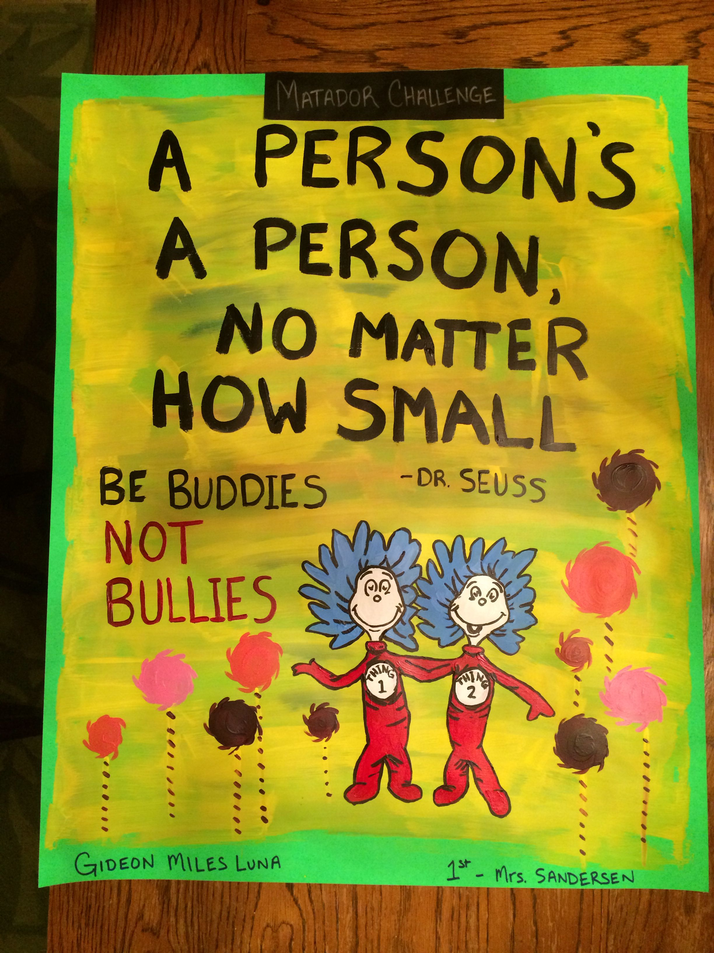 "Anti-bullying poster. ""A Person's A Person No Matter How ..."