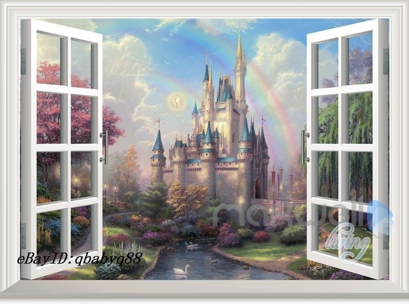 Details about Disney Fairy Castle Rainbow 3D Window Wall Decals Removable  Stickers Kids Decor