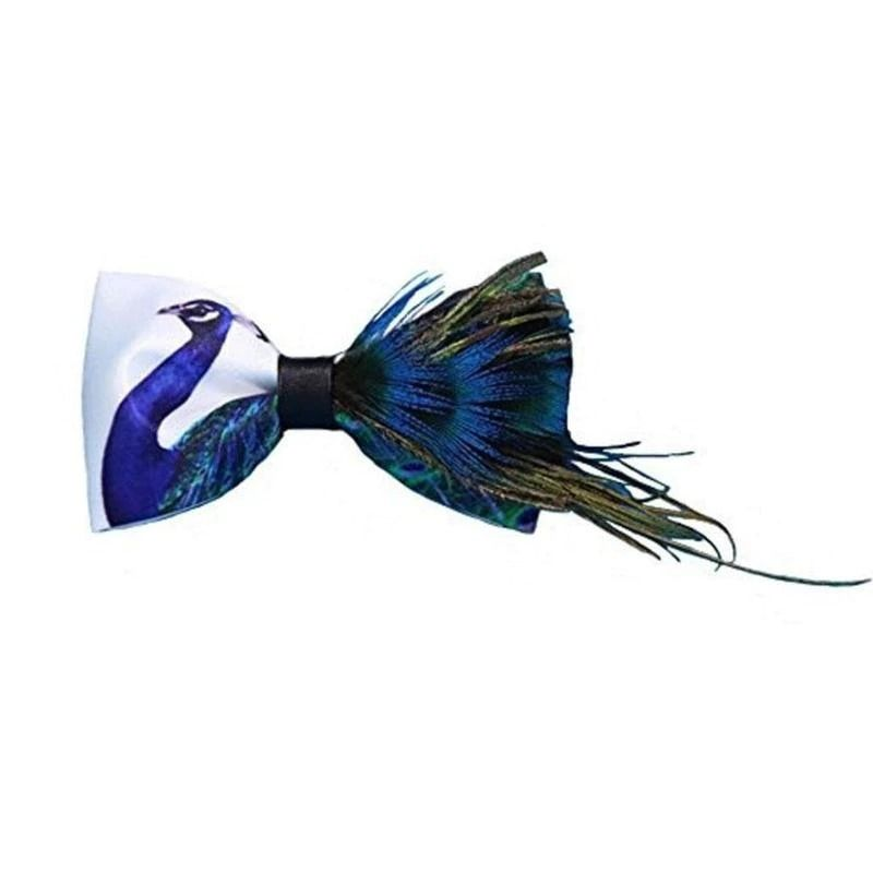 Handmade Formal Pre-Tied Tuxedo Bow Tie for Men-Peacock Feathers