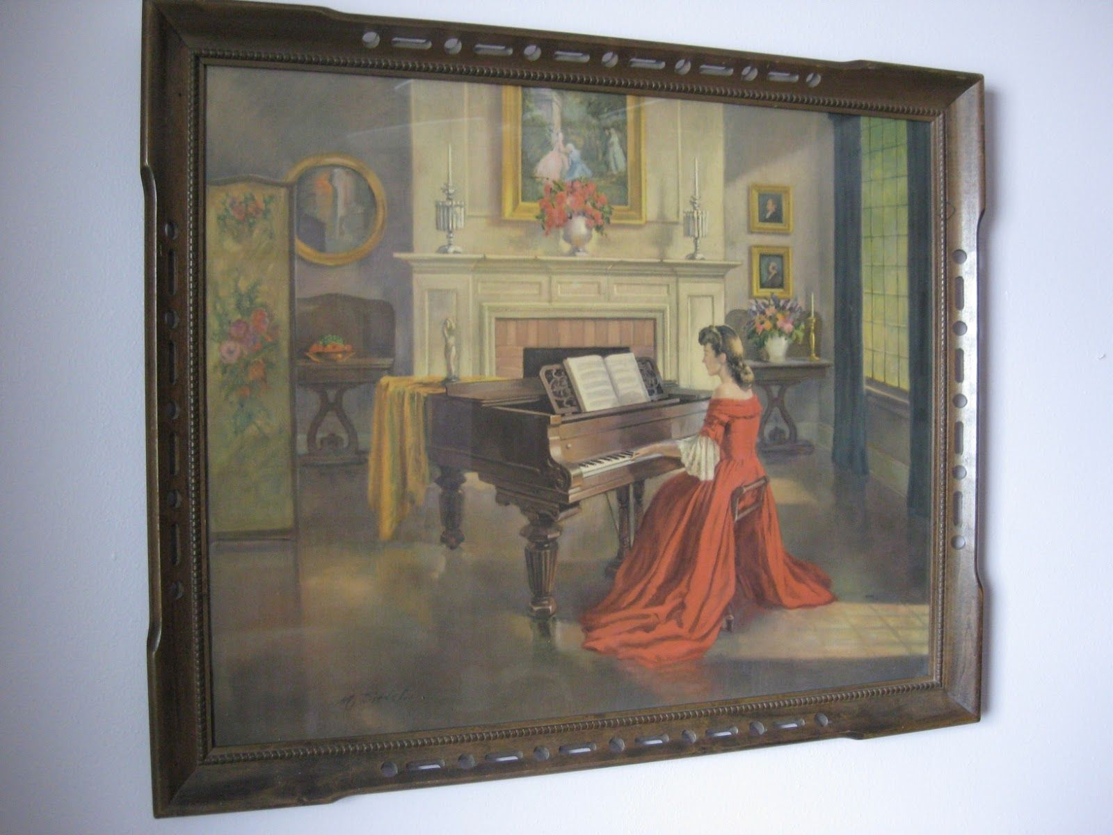 Old painting woman red gown piano this painting of the victorian woman in a red dress playing the piano