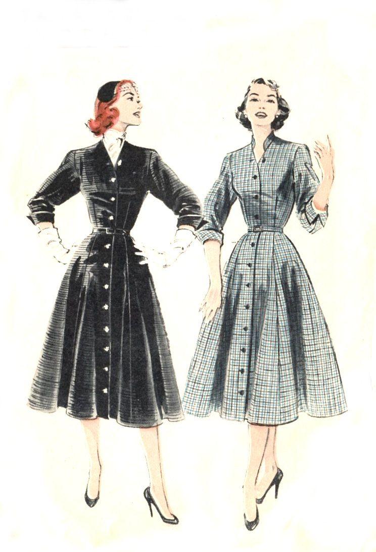 1950s Coat Dress Pattern Butterick 6304 Flared Skirt