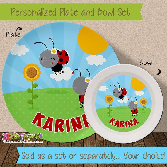 Personalized Ladybug Plate and Bowl Set - Personalized Melamine Children Plate Cereal Bowl - Kids Dishes & Personalized Ladybug Plate and Bowl Set - Personalized Melamine ...