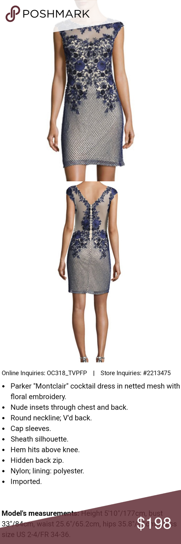2f4920cd2a3c Parker Black Montclair Cap- Sleeve Floral Mesh Cocktail Dress with Navy  colored beading... Absolutely Stunning! Sold out at Neiman Marcus.