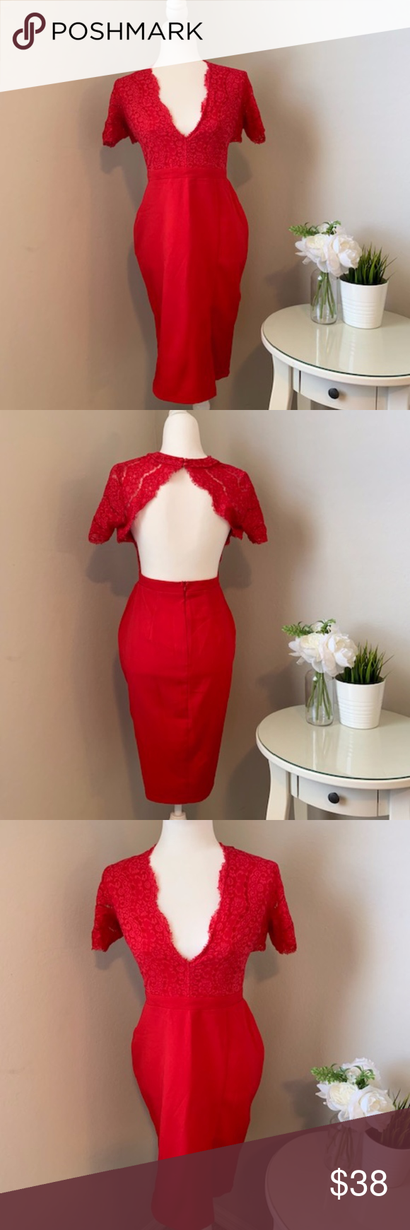 MISSGUIDED Red Lace Backless Cocktail Dress MISSGUIDED Red Lace Backless Cocktail Dress  Condition: Pre-loved, only worn ONCE on a birthday, Flawless  Size 10 Backless  Detailed lace top, secured with buttons behind the neck.  Dress comes to the knee and has a split on the right leg. Missguided Dresses Midi #backlesscocktaildress