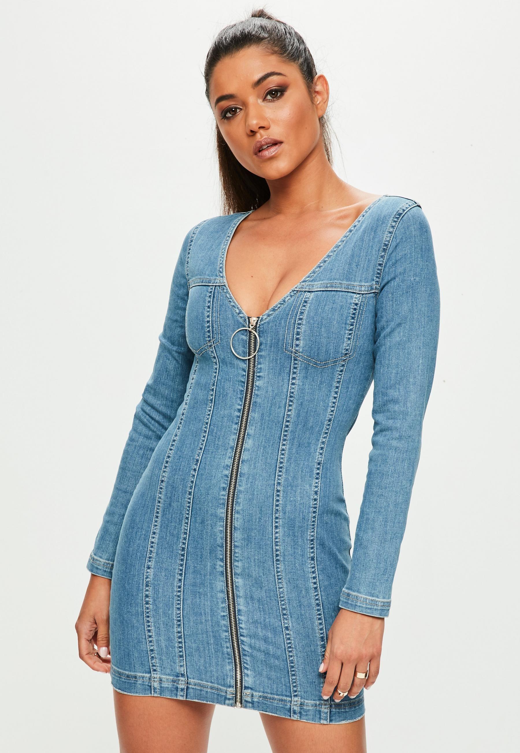 Blue fitted zip through long sleeved denim dress Джинсовая