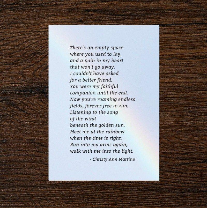 Pet Loss Poem Loss of Dog or Cat Gift Pet Memorial