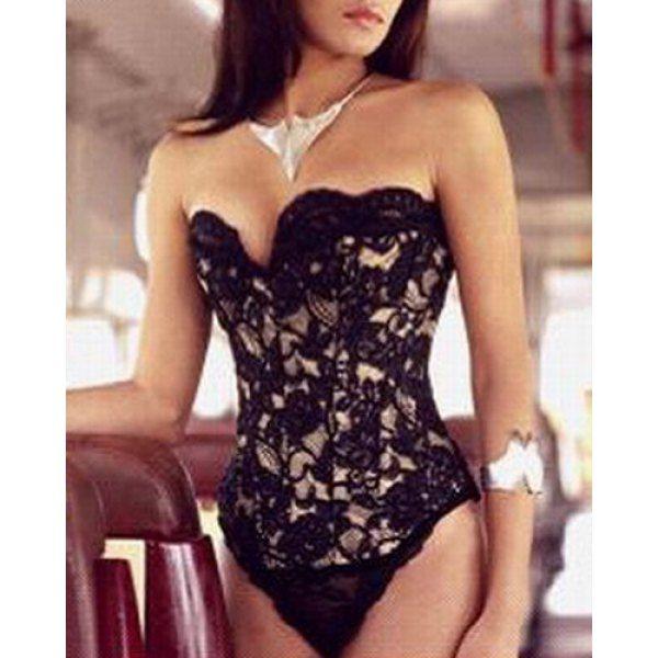 1afa4252b7 Sexy Strapless Sleeveless Hollow Out Lace Women s Corset Bodysuit ...