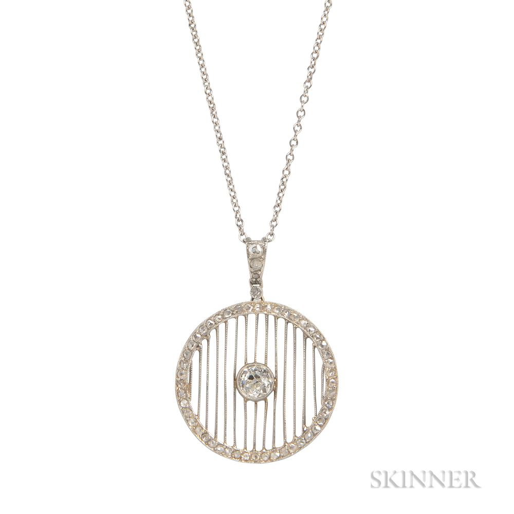 Art deco platinum and diamond pendant sale number 3085b lot art deco platinum and diamond pendant aloadofball Images