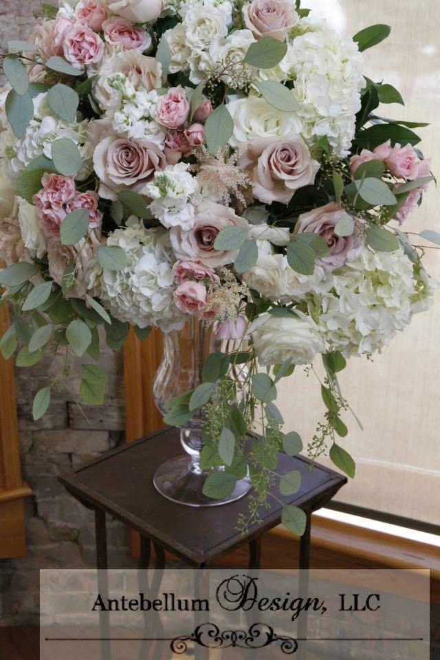 lush blush wedding flowers for a wedding ceremony, Dallas wedding flowers by AntebellumDesign.com