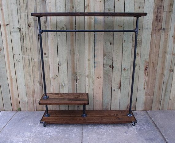 Clothing rack, garment rack, reclaimed wood, store fixture, clothes ...