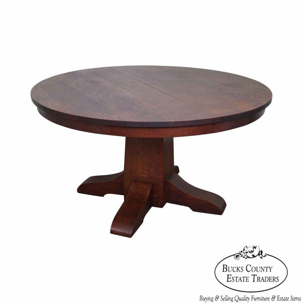 Gustav Stickley Antique Round Mission Oak Dining Table W 6 Leaves
