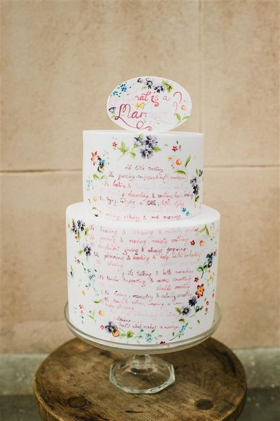 cake with hand painted quotes