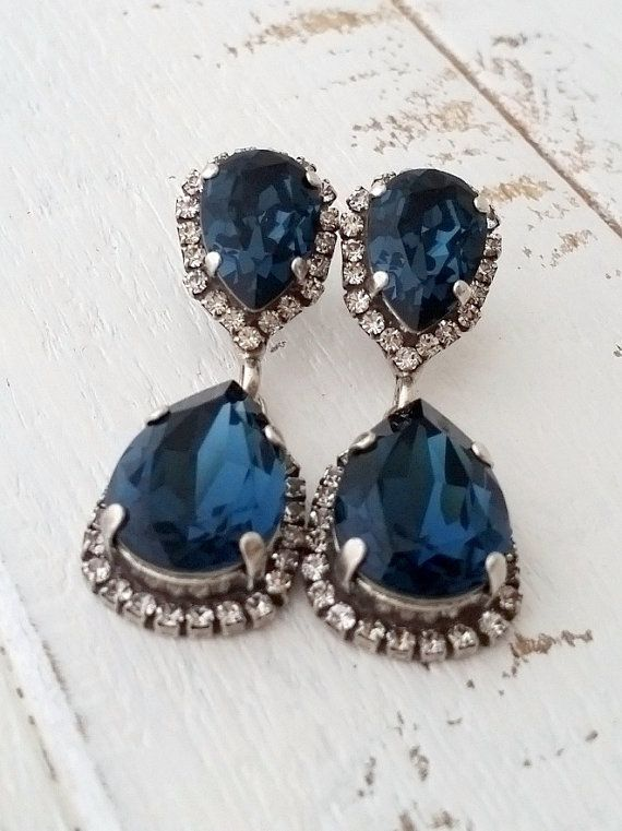 Navy Blue Crystal Chandelier Earrings Dangle Bridal Deep Swarovski Silver Or Gold Bridesmaids Gift By