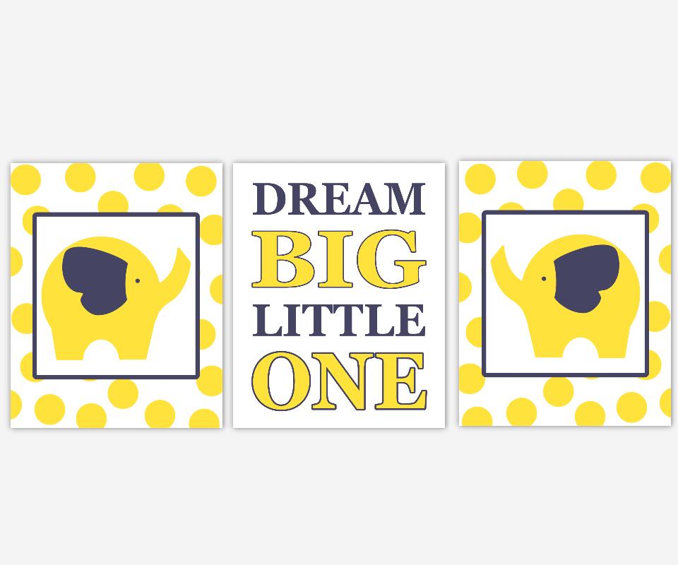 Baby Nursery Canvas Wall Art - Navy Blue Yellow Elephant Dream Big ...