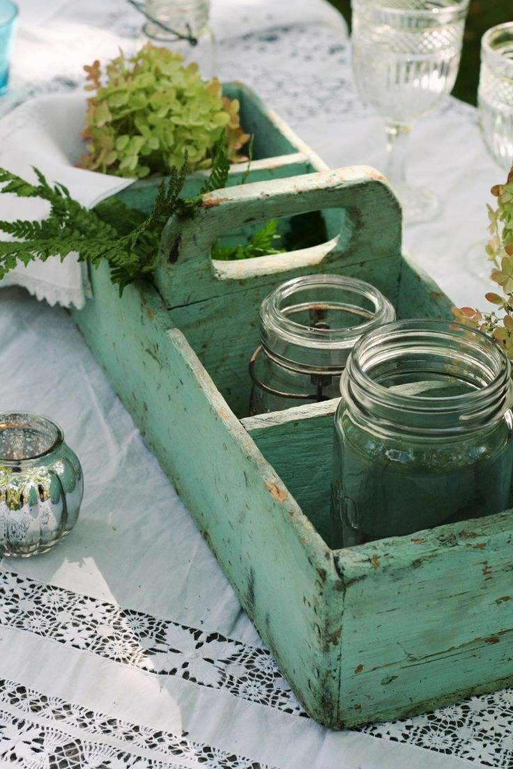 love the green repurposed box and jars